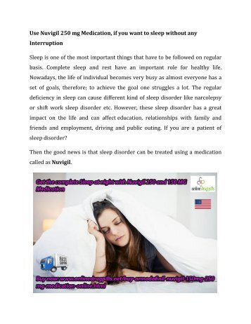 Buy Nuvigil Medication Online 150 mg and 250 mg for Anxiety at OnlineDrugPills