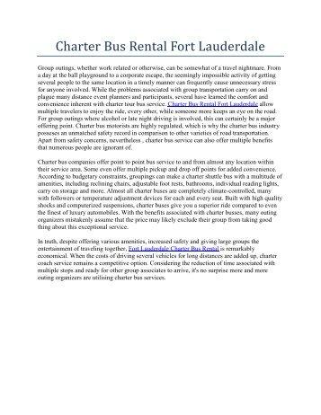 Charter Bus Rental Fort Lauderdale