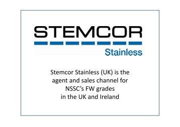 Steel grade characteristics of NSSC FW1 - Stemcor