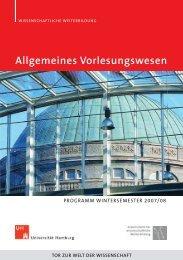 Allgemeines Vorlesungswesen - Universität Hamburg - Fachbereich ...