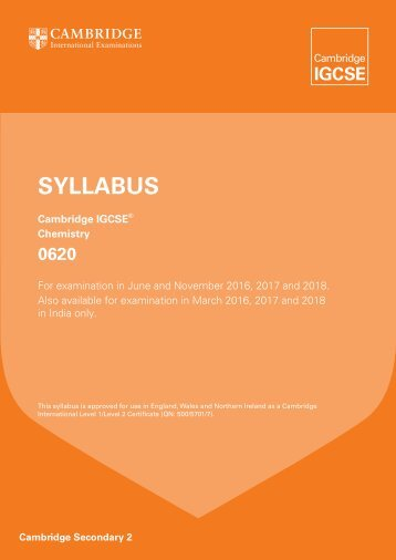 Chemistry IGCSE Syllabus