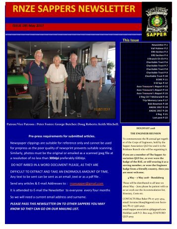 RNZE Sappers newsletter 195 May 2017