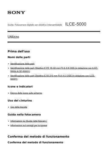 Sony ILCE-5000 - ILCE-5000 Manuel d'aide (version imprimable) Italien