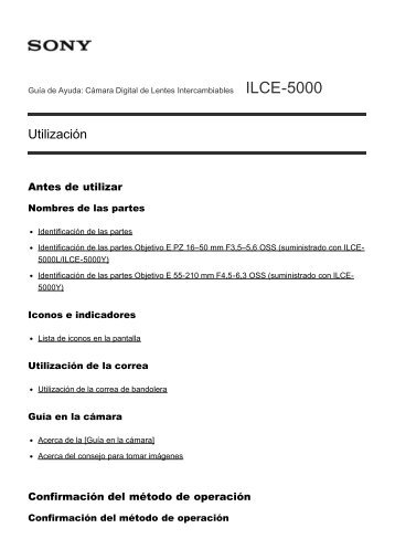 Sony ILCE-5000 - ILCE-5000 Manuel d'aide (version imprimable) Espagnol
