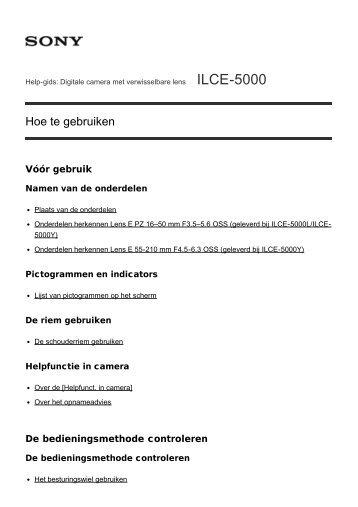 Sony ILCE-5000 - ILCE-5000 Manuel d'aide (version imprimable) Néerlandais