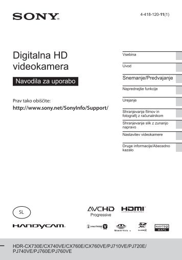 Sony HDR-PJ710VE - HDR-PJ710VE Mode d'emploi Slovénien