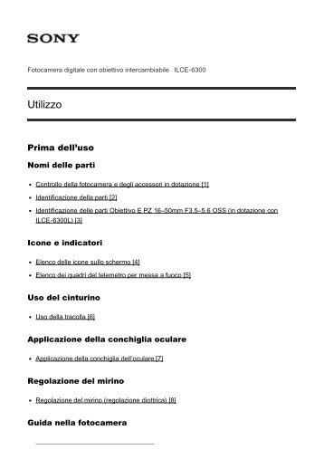 Sony ILCE-6300Z - ILCE-6300Z Manuel d'aide Italien
