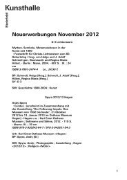 Neuerwerbungen November 2012 - Kunsthalle Bielefeld