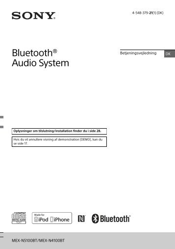 Sony MEX-N4100BT - MEX-N4100BT Consignes d'utilisation Danois