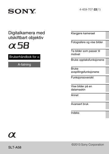 Sony SLT-A58M - SLT-A58M Mode d'emploi Norvégien