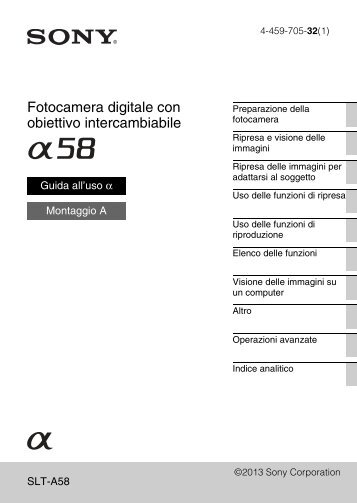 Sony SLT-A58M - SLT-A58M Mode d'emploi Italien