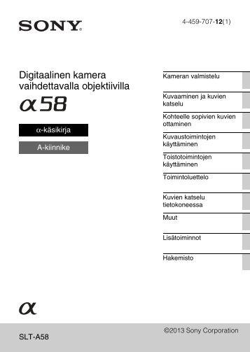 Sony SLT-A58M - SLT-A58M Mode d'emploi Finlandais