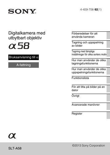 Sony SLT-A58M - SLT-A58M Mode d'emploi Suédois