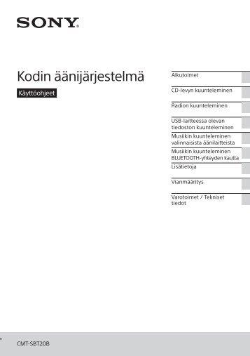 Sony CMT-SBT20B - CMT-SBT20B Consignes d'utilisation Finlandais