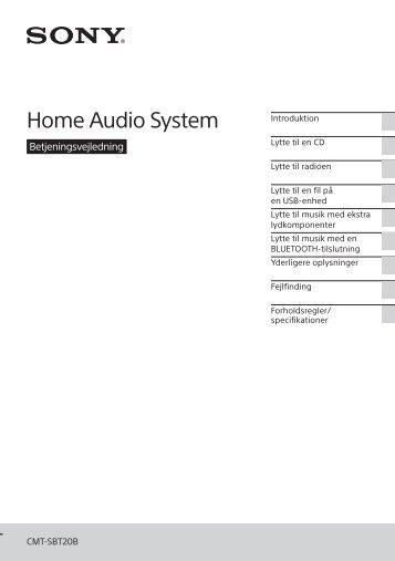 Sony CMT-SBT20B - CMT-SBT20B Consignes d'utilisation Danois