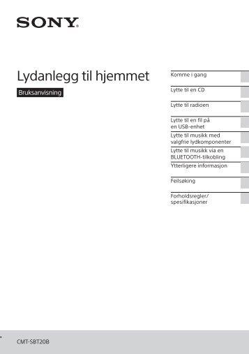 Sony CMT-SBT20B - CMT-SBT20B Consignes d'utilisation Norvégien