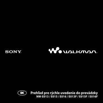 Sony NW-E015F - NW-E015F Mode d'emploi Slovaque