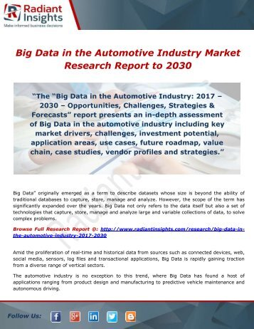 Big Data in the Automotive Industry by Type, Application & Geography - Global Forecasts to 2030 by Radiant Insights,Inc