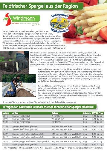 Wochenpreisliste Obst und Gemüse KW 20 2017
