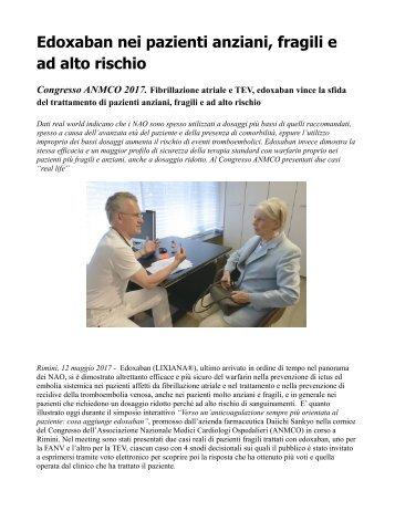 Fibrillazione atriale TEV Edoxaban vince la sfida nei pazienti più fragili e anziani