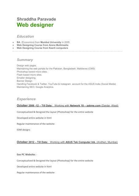 Shraddha New Resume