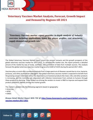 Veterinary Vaccines Market Analysis, Forecast, Growth Impact and Demand by Regions till 2021