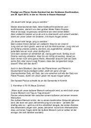 Goldene Konfirmation - Gemeinde Essen Haarzopf-Fulerum