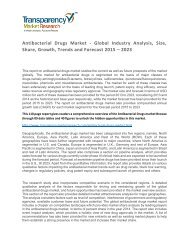 Antibacterial Drugs Market - Global Industry Analysis, Size, Share, Growth, Trends and Forecast 2015 – 2023