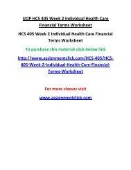 UOP HCS 405 Week 2 Individual Health Care Financial Terms Worksheet