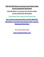 UOP HCS 405 Week 2 Learning Team Patton-Fuller Income Statement Worksheet