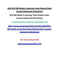 UOP HCS 405 Week 3 Learning Team Patton-Fuller Income Statement Worksheet