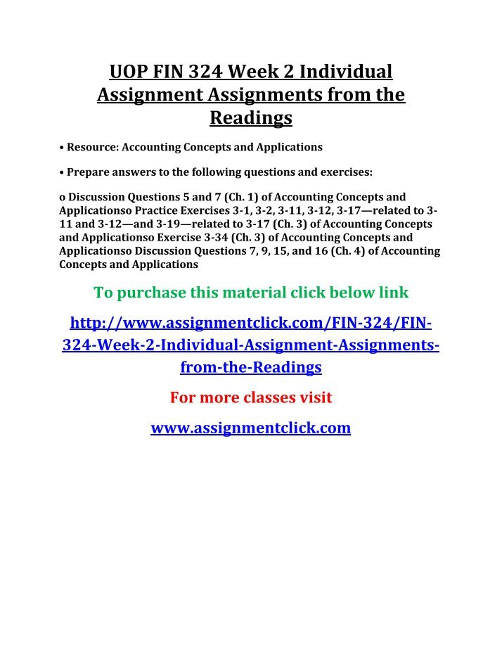 assignment readings fin419 Fin 419 week 4 individual assignment from the readings acc 206 week two assignment problems guidance report - online homework help find this pin and more on fin 419 by homeworkhelp.