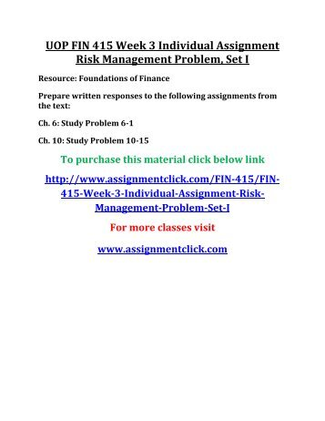 UOP FIN 415 Week 3 Individual Assignment Risk Management Problem