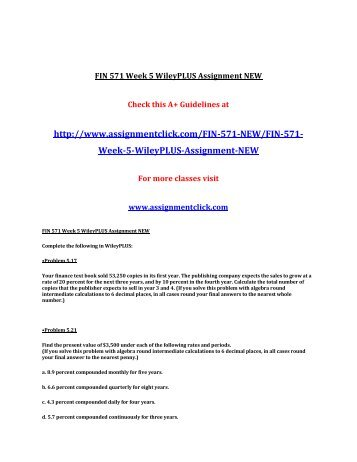 UOP FIN 571 Week 5 WileyPLUS Assignment UOP