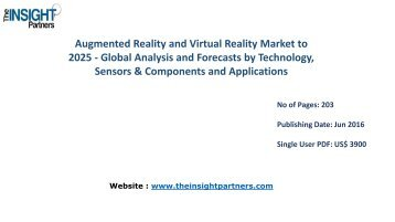 Augmented Reality and Virtual Reality Market to 2025 Analysis & Trends by Component, Application and Industry Verticals |The Insight Partners