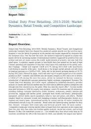 Global Duty Free Retailing, 2015-2020; Market Dynamics, Retail Trends, and Competitive Landscape