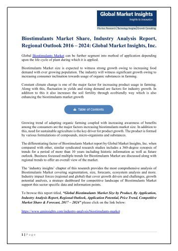 Biostimulants Market Share, Industry Analysis Report, Regional Outlook by 2024
