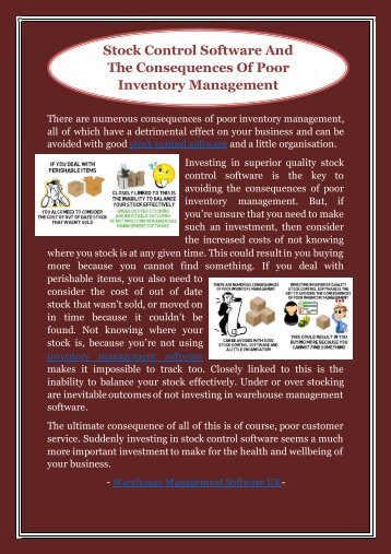 Stock Control Software And The Consequences Of Poor Inventory Management