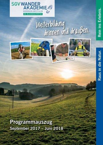 Veranstaltungskalender Wanderakademie 2017-2018