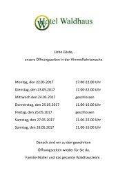 Offnungszeiten Himmelfahrt 2017