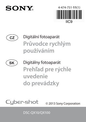 Sony DSC-QX10 - DSC-QX10 Guide de mise en route Slovaque