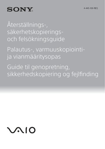 Sony SVE1713W1E - SVE1713W1E Guide de dépannage Suédois