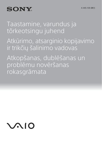 Sony SVE1713W1E - SVE1713W1E Guide de dépannage Lituanien