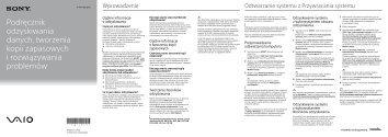 Sony SVE1713W1E - SVE1713W1E Guide de dépannage Polonais
