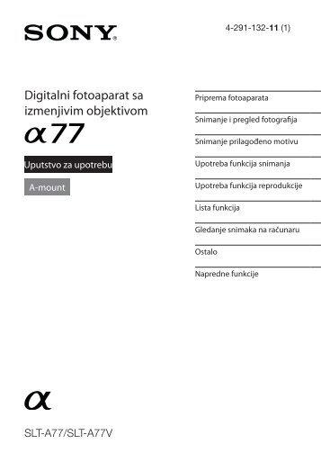 Sony SLT-A77M - SLT-A77M Mode d'emploi Serbe