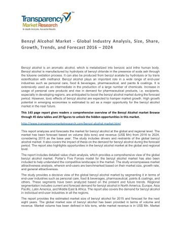 Benzyl Alcohol Market - Global Industry Analysis, Size, Share, Growth, Trends, and Forecast 2016 - 2024