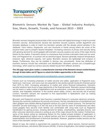 Biometric Sensors Market By Type - Global Industry Analysis, Size, Share, Growth, Trends, and Forecast 2015 - 2023