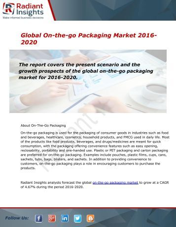 Global On-the-go Packaging Market and Forecast Report to 2020:Radiant Insights, Inc