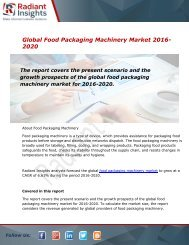 Global Food Packaging Machinery Market and Forecast Report to 2020:Radiant Insights, Inc