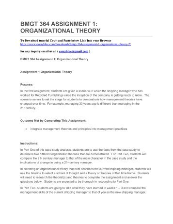 bmgt 364 final case study Final project case study: smith's accounting and tax service bmgt 364 - management and organization theory (5 pages | 2524 words) amanda smith is an.